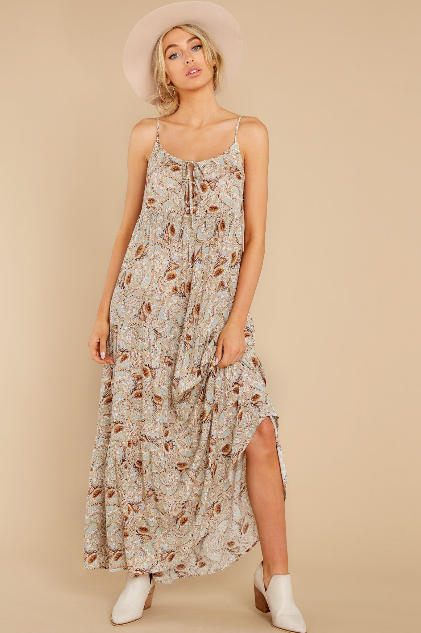 8 Fallen For You Sage And Rust Multi Print Maxi Dress at reddress.com