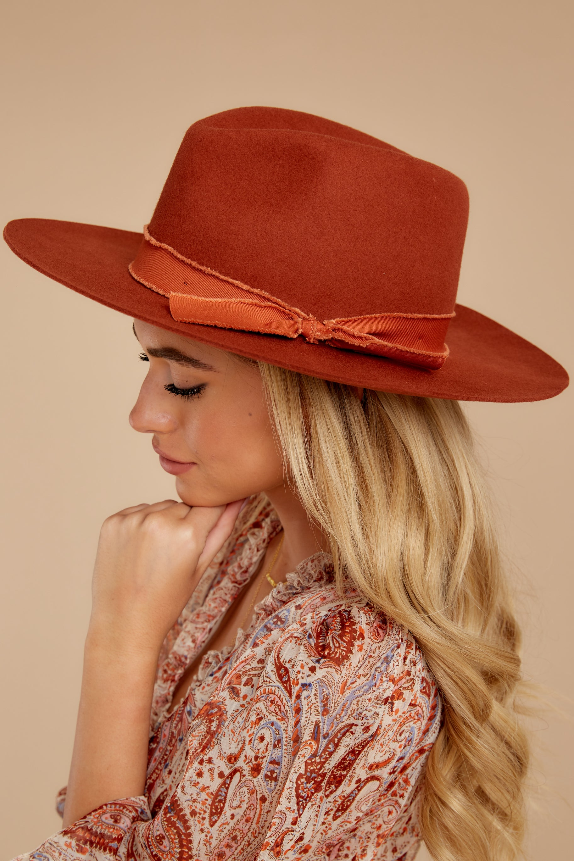 1 Won't Forget Her Rust Hat at reddressboutique.com