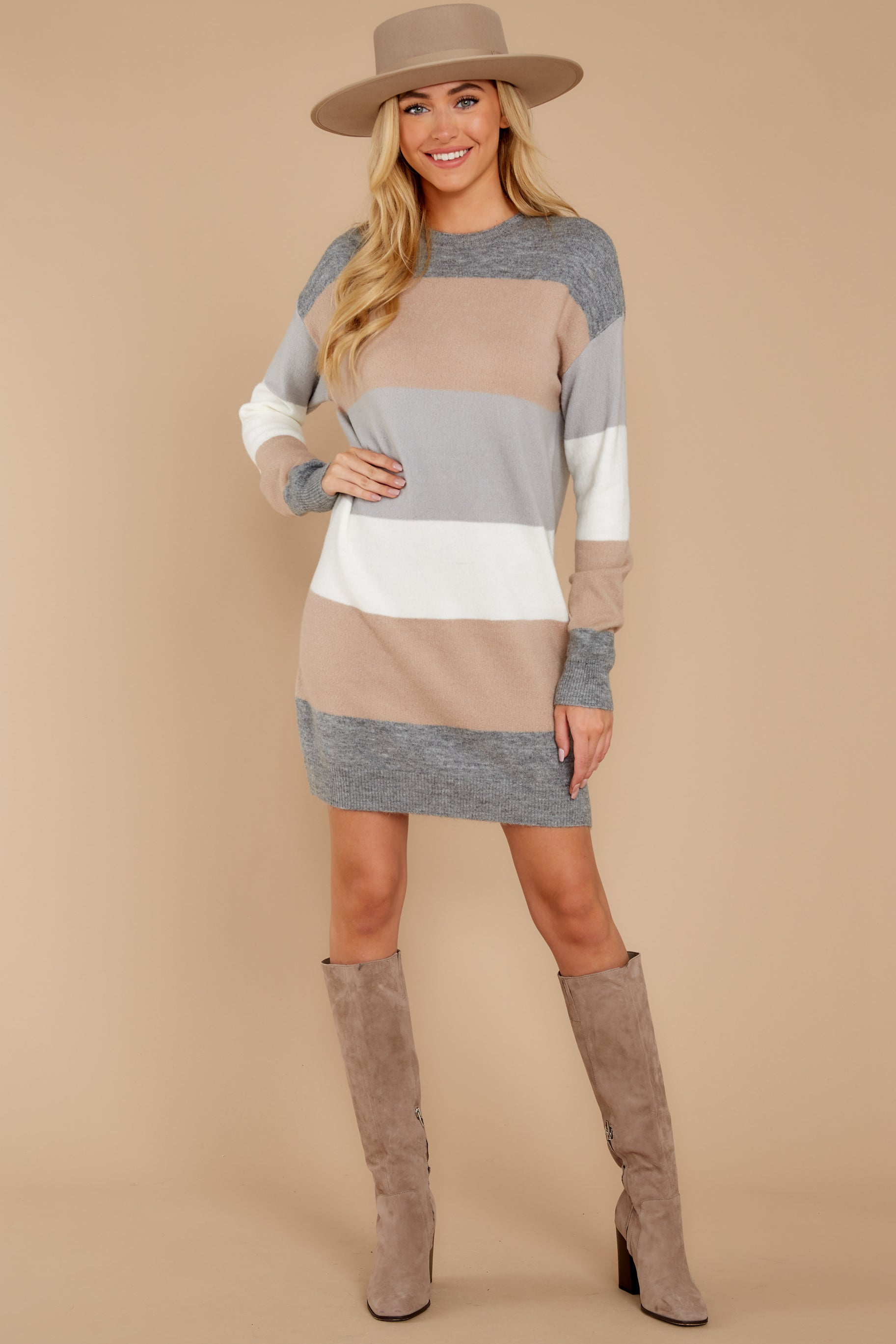 1 Word Around Town Grey Multi Stripe Sweater Dress at reddress.com