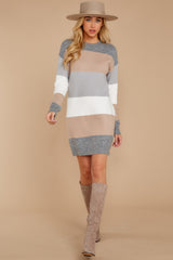 2 Word Around Town Grey Multi Stripe Sweater Dress at reddress.com