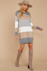 3 Word Around Town Grey Multi Stripe Sweater Dress at reddress.com