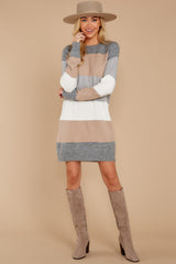4 Word Around Town Grey Multi Stripe Sweater Dress at reddress.com
