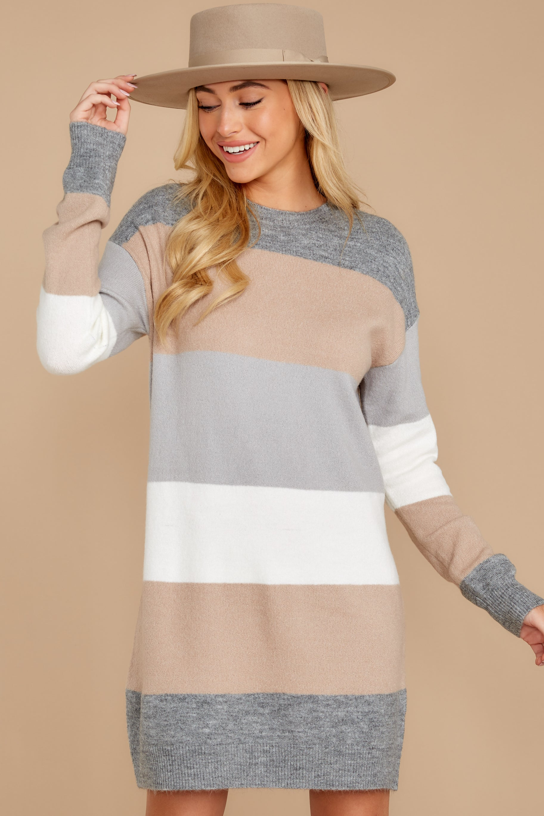 5 Word Around Town Grey Multi Stripe Sweater Dress at reddress.com