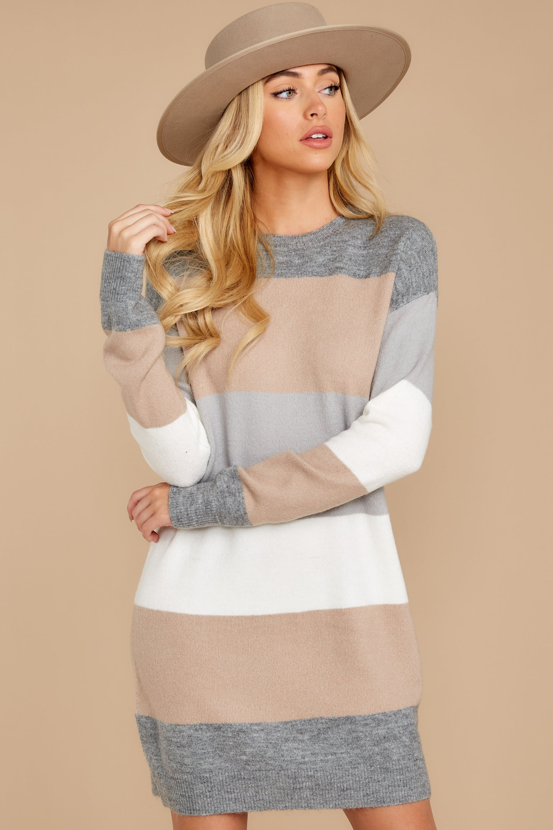 6 Word Around Town Grey Multi Stripe Sweater Dress at reddress.com