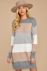 7 Word Around Town Grey Multi Stripe Sweater Dress at reddresscom
