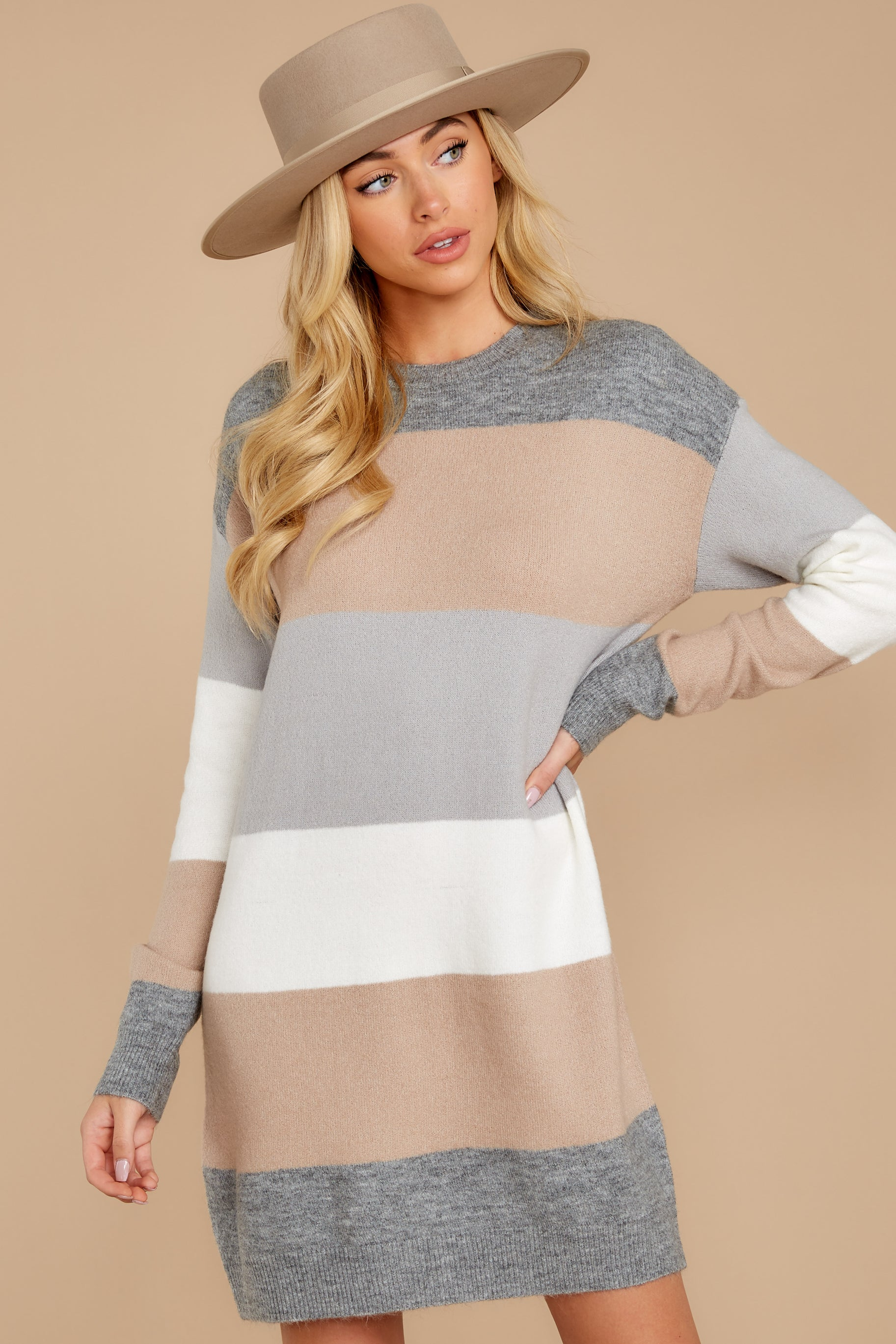 8 Word Around Town Grey Multi Stripe Sweater Dress at reddress.com
