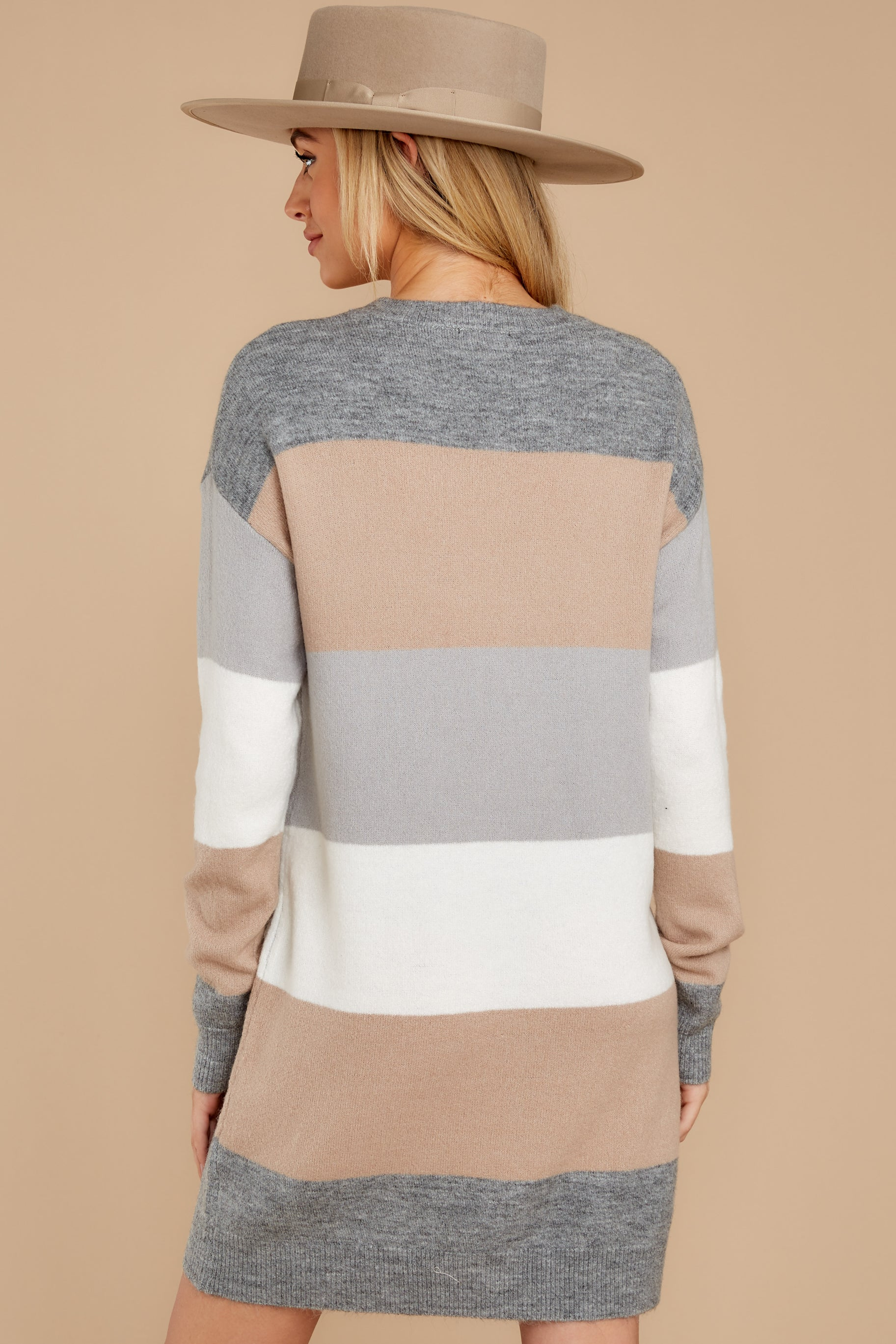 9 Word Around Town Grey Multi Stripe Sweater Dress at reddress.com