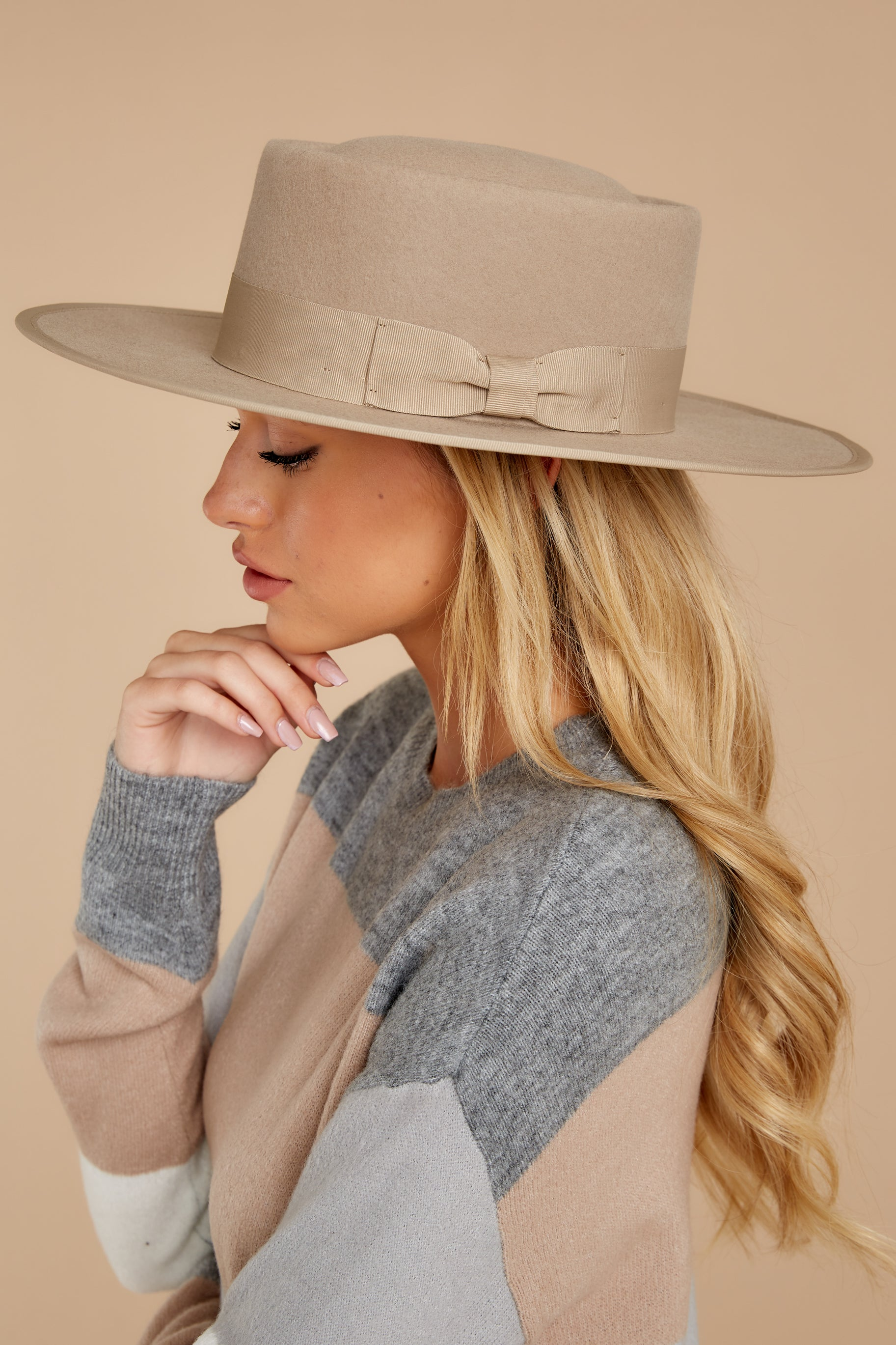 1 Play It Cool Light Taupe Hat at reddressboutique.com