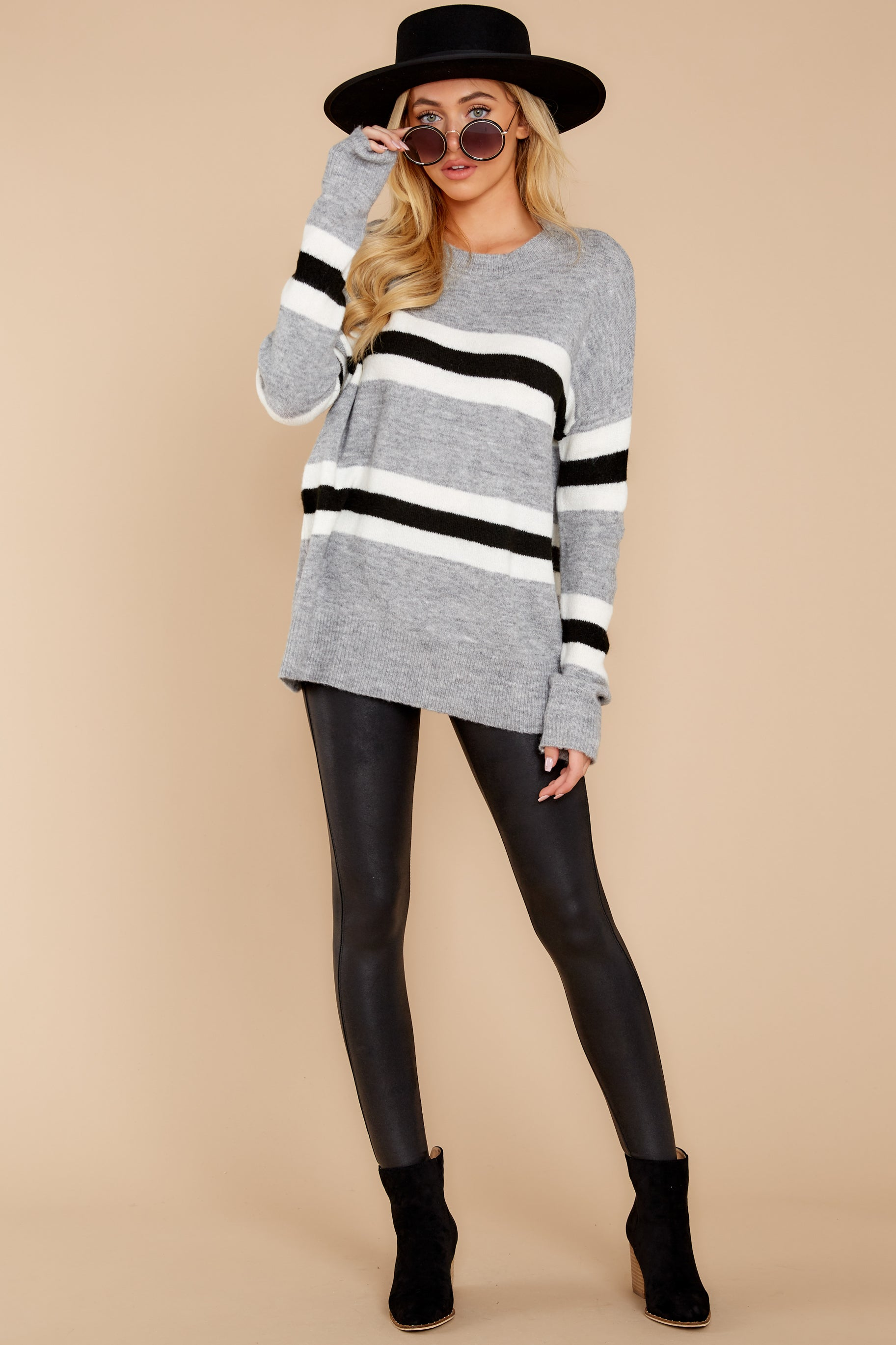 3 On The Line Grey Multi Stripe Sweater at reddressboutique.com