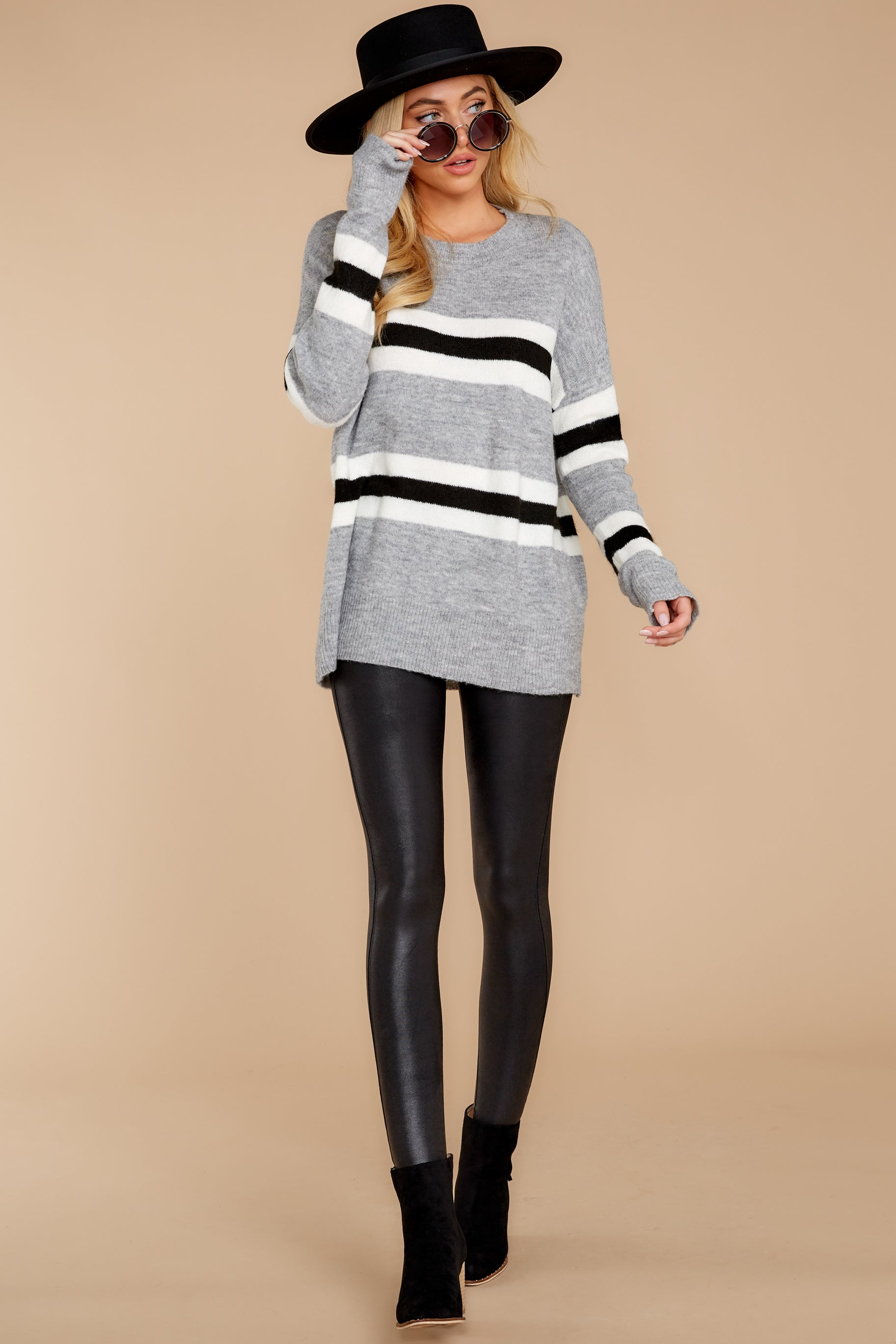 4 On The Line Grey Multi Stripe Sweater at reddressboutique.com