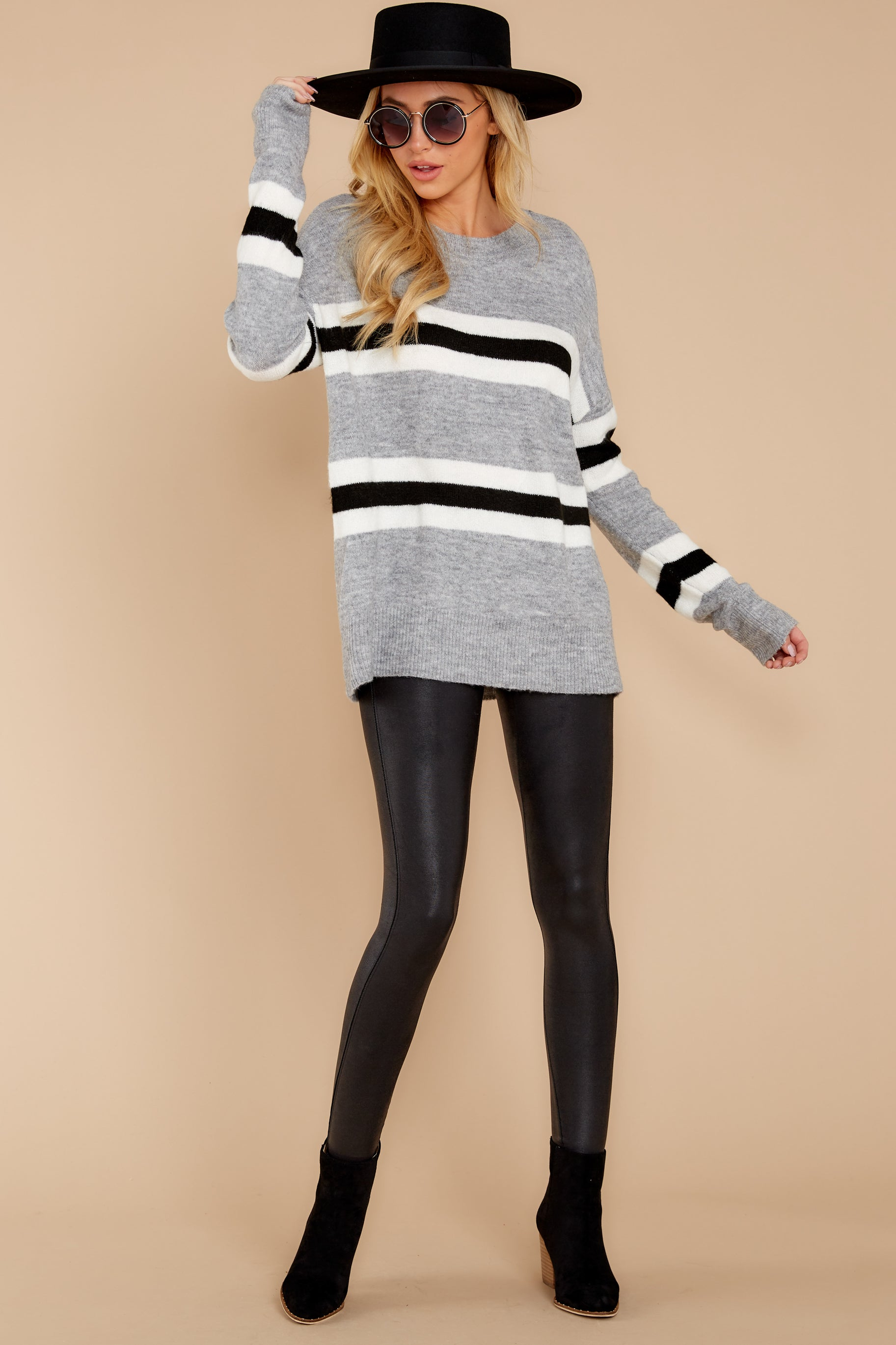 2 On The Line Grey Multi Stripe Sweater at reddressboutique.com