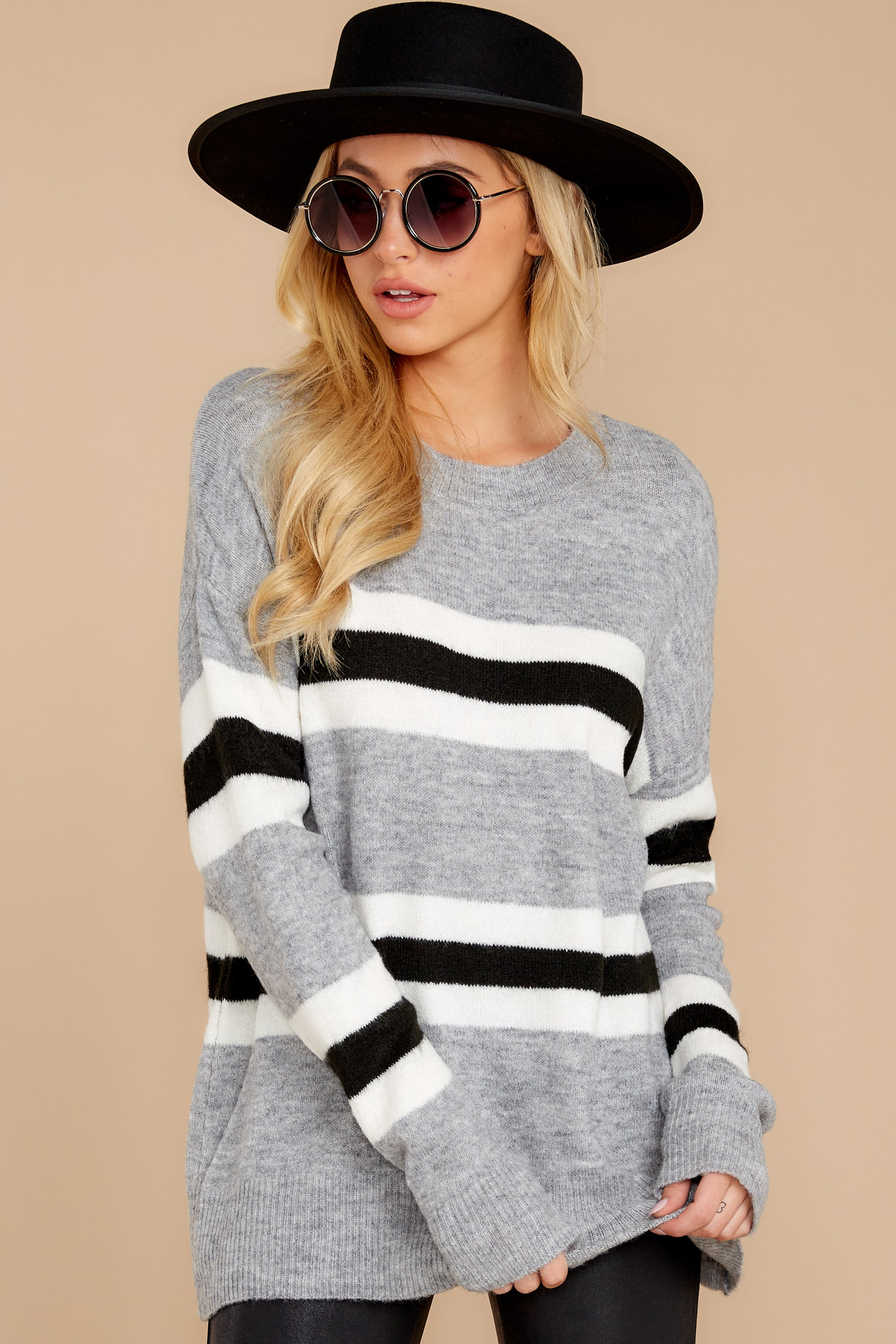 5 On The Line Grey Multi Stripe Sweater at reddressboutique.com