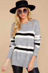 6 On The Line Grey Multi Stripe Sweater at reddressboutique.com