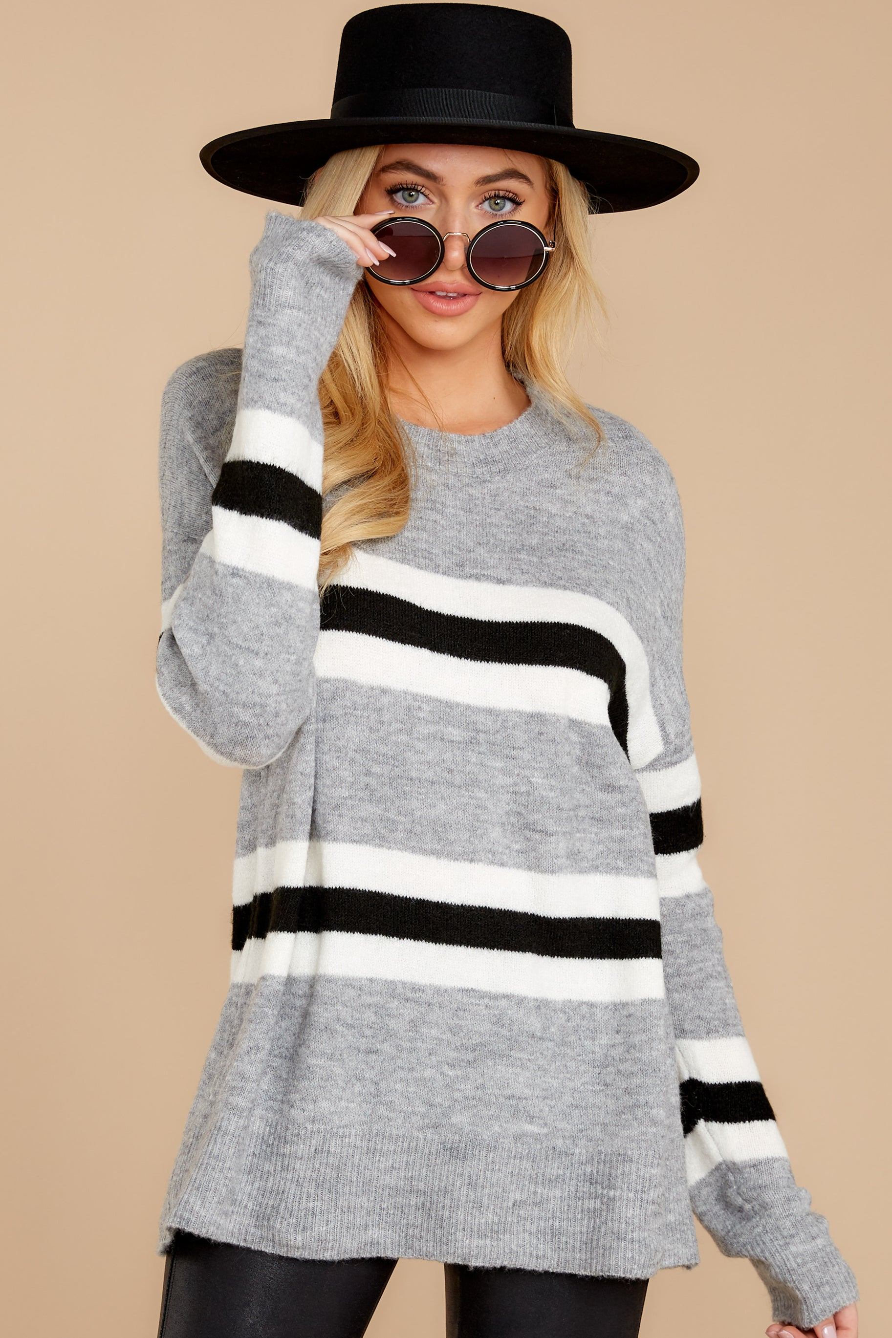 7 On The Line Grey Multi Stripe Sweater at reddressboutique.com