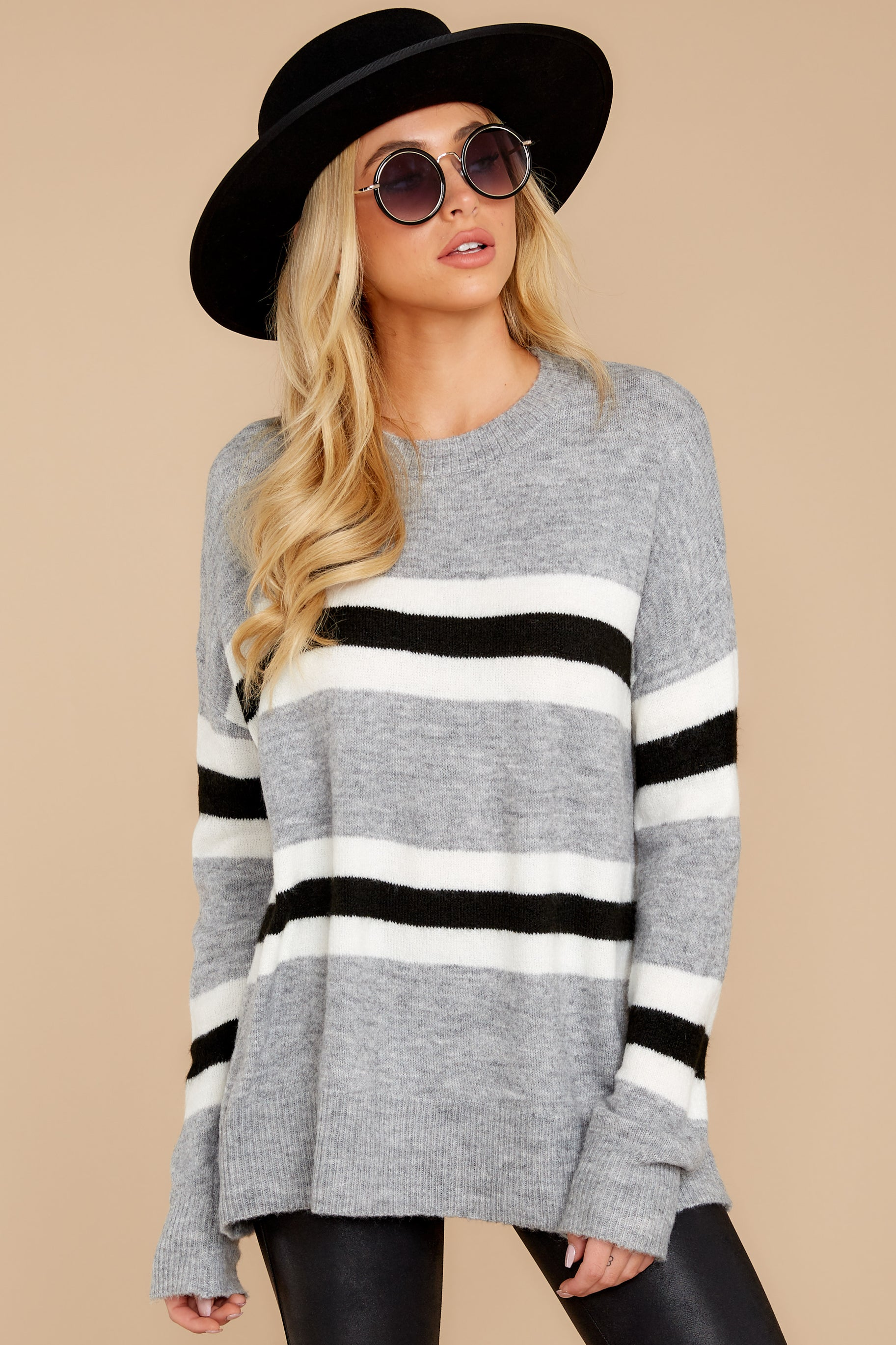 8 On The Line Grey Multi Stripe Sweater at reddressboutique.com