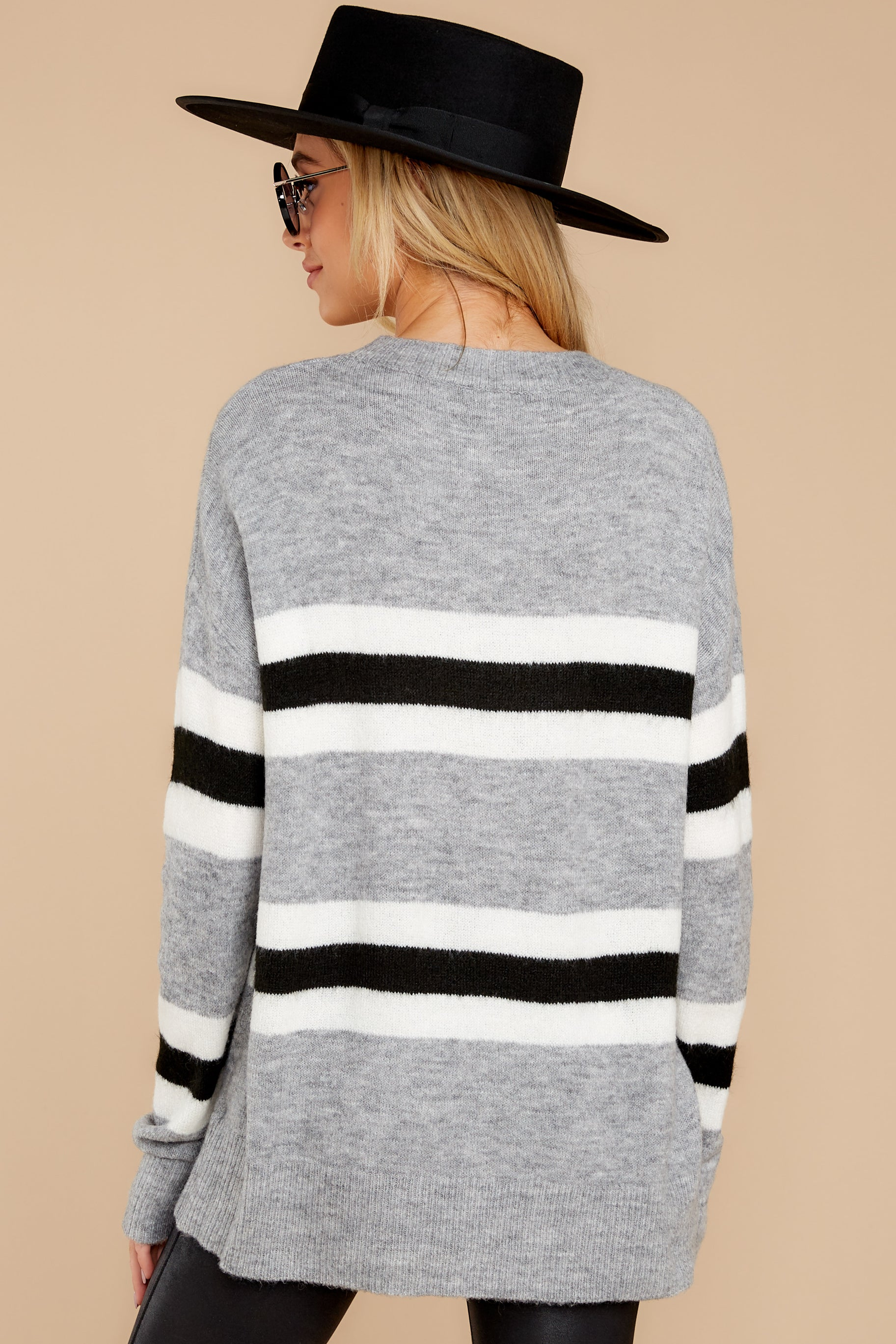 9 On The Line Grey Multi Stripe Sweater at reddressboutique.com