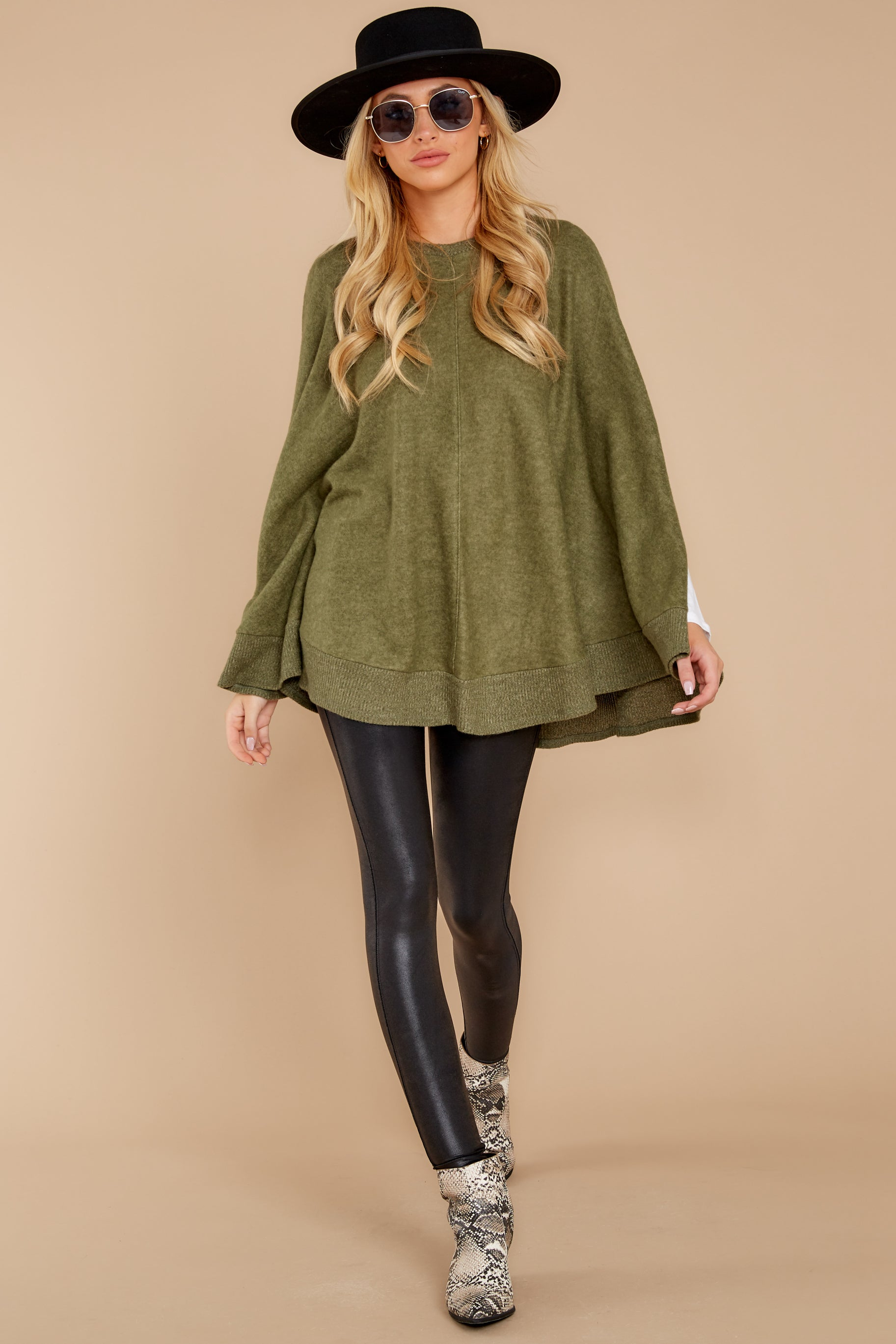 2 Make Your Mark Olive Green Poncho Top at reddressboutique.com
