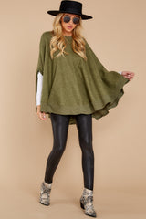 3 Make Your Mark Olive Green Poncho Top at reddressboutique.com