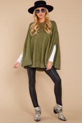 4 Make Your Mark Olive Green Poncho Top at reddressboutique.com