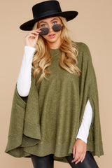 5 Make Your Mark Olive Green Poncho Top at reddressboutique.com