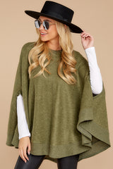 7  Make Your Mark Olive Green Poncho Top at reddressboutique.com