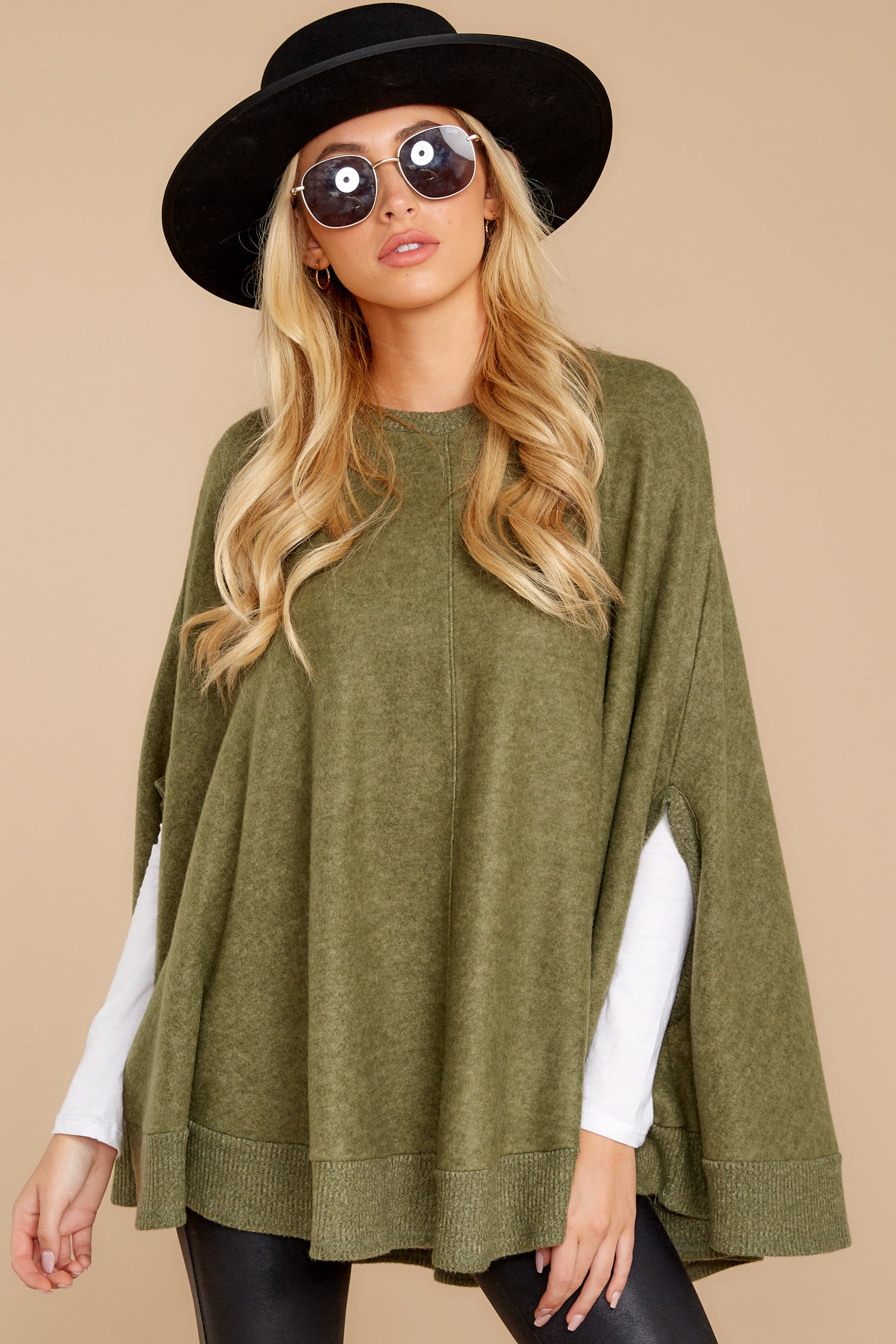8  Make Your Mark Olive Green Poncho Top at reddressboutique.com