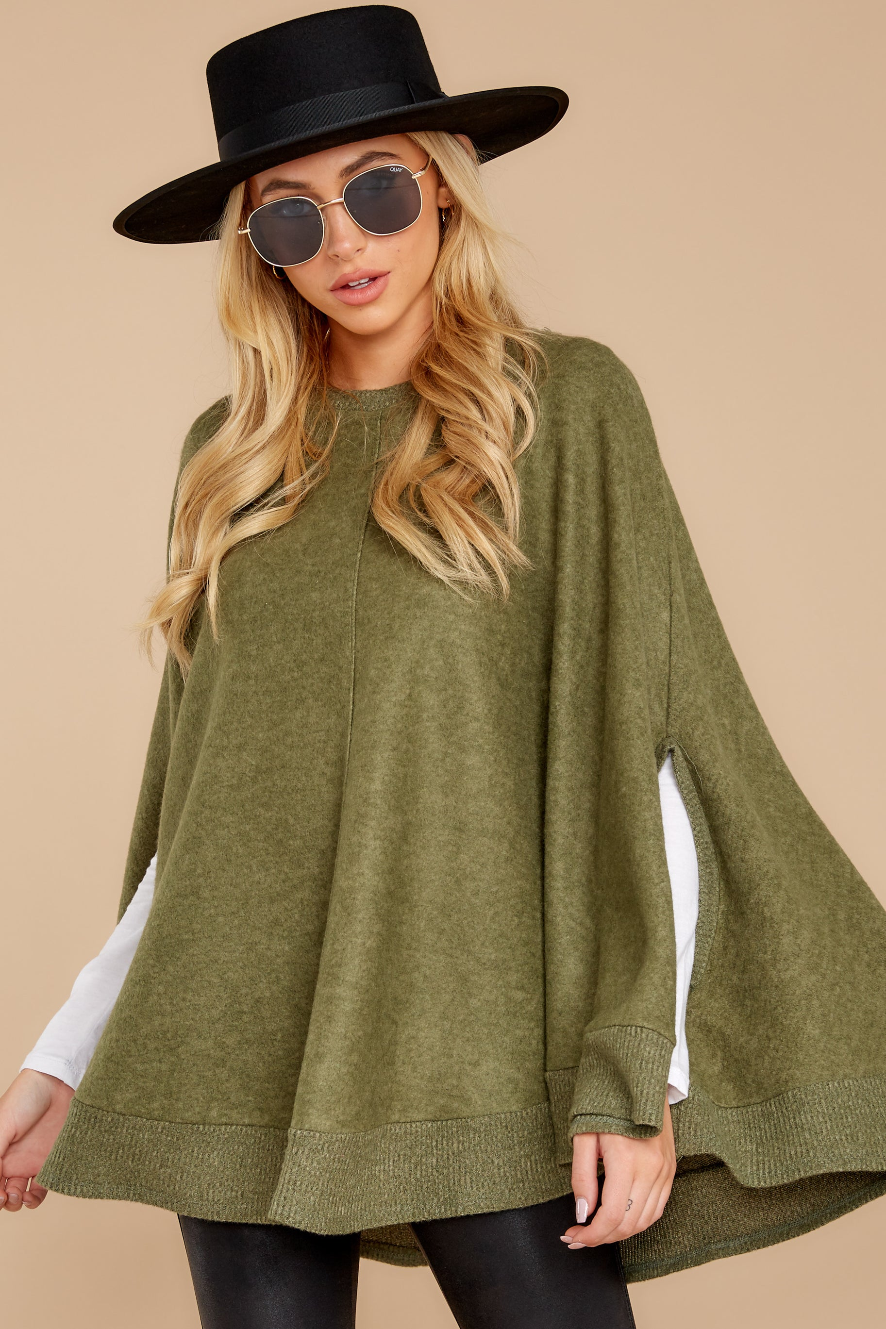 6 Make Your Mark Olive Green Poncho Top at reddressboutique.com