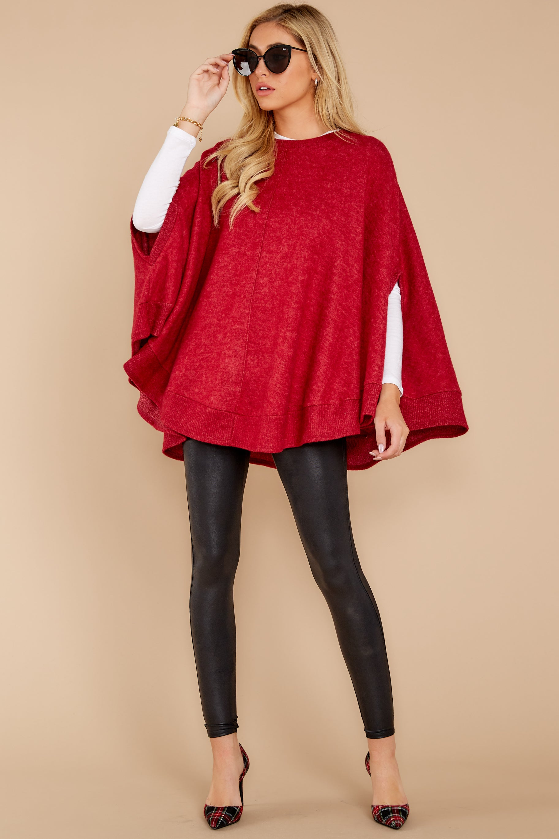 Make Your Mark Dark Red Poncho Top