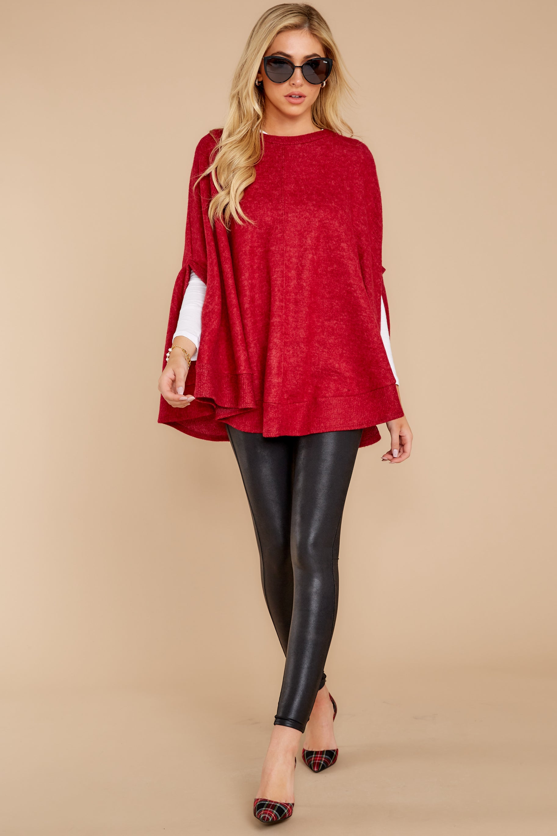 2 Make Your Mark Dark Red Poncho Top at reddress.com