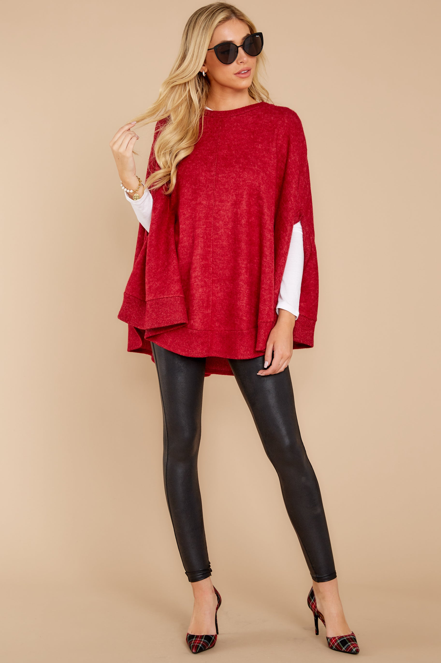3 Make Your Mark Dark Red Poncho Top at reddress.com