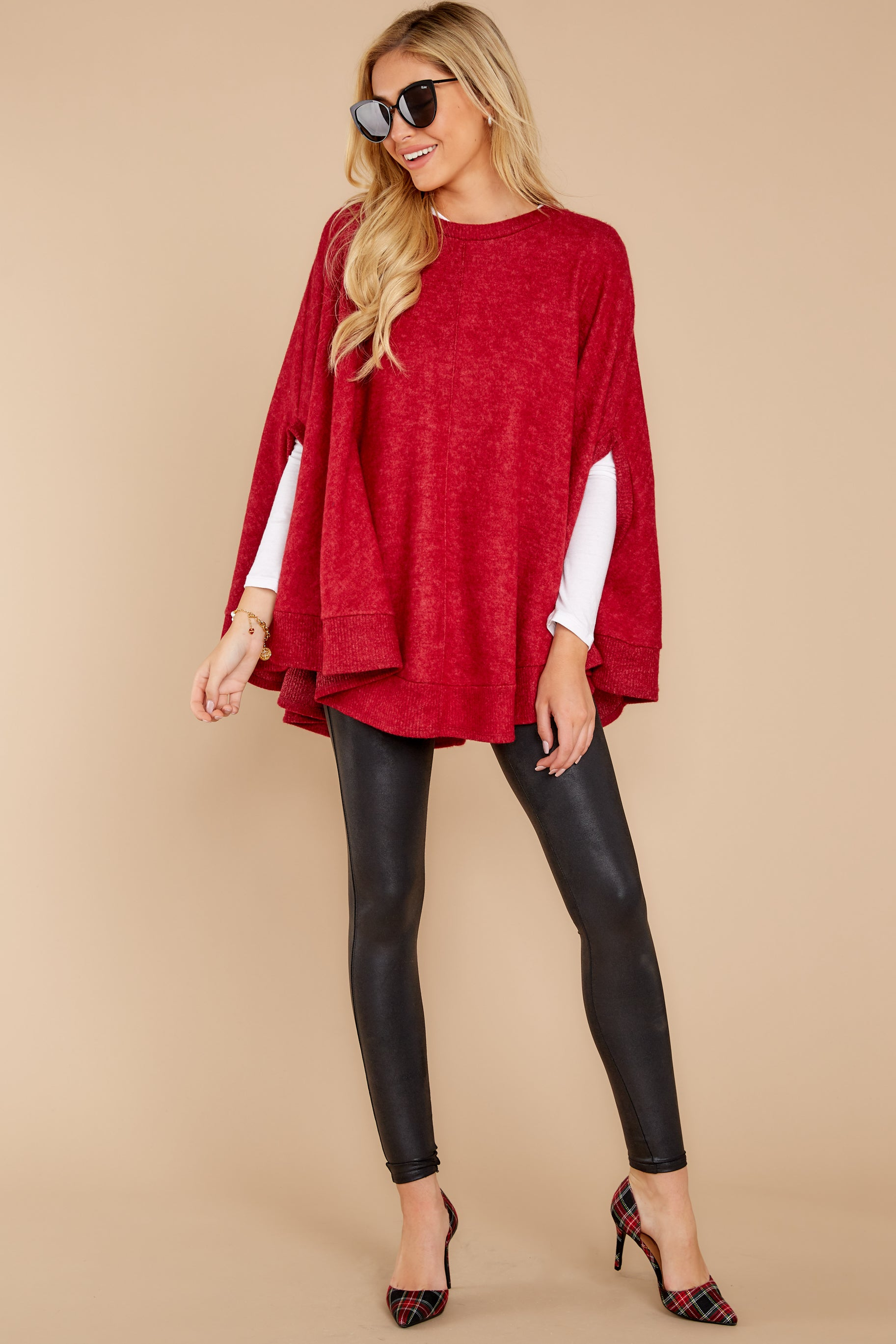 4 Make Your Mark Dark Red Poncho Top at reddress.com