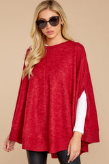 5 Make Your Mark Dark Red Poncho Top at reddress.com