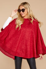6 Make Your Mark Dark Red Poncho Top at reddress.com