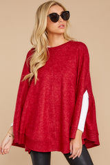 7 Make Your Mark Dark Red Poncho Top at reddress.com