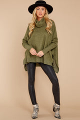 4 Last To Love Heather Green Cowl Neck Sweater at reddressboutique.com
