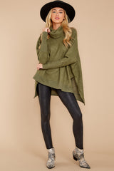 1 Last To Love Heather Green Cowl Neck Sweater at reddressboutique.com