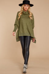 2 Last To Love Heather Green Cowl Neck Sweater at reddressboutique.com