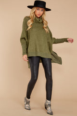 3 Last To Love Heather Green Cowl Neck Sweater at reddressboutique.com