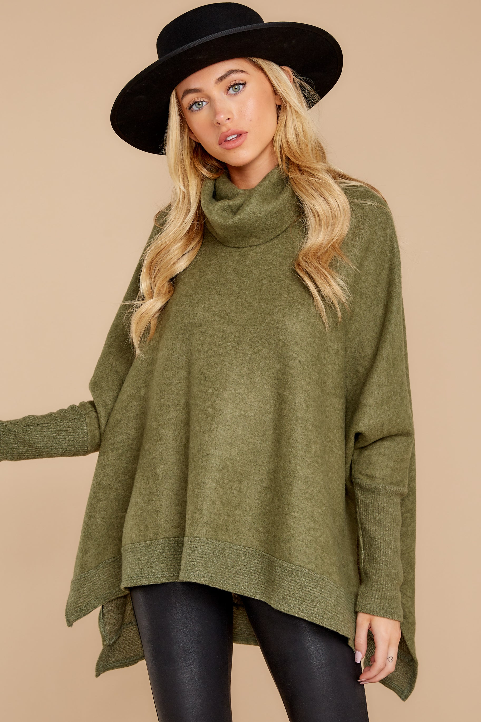 5 Last To Love Heather Green Cowl Neck Sweater at reddressboutique.com