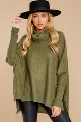 6 Last To Love Heather Green Cowl Neck Sweater at reddressboutique.com