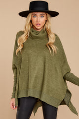 7 Last To Love Heather Green Cowl Neck Sweater at reddressboutique.com