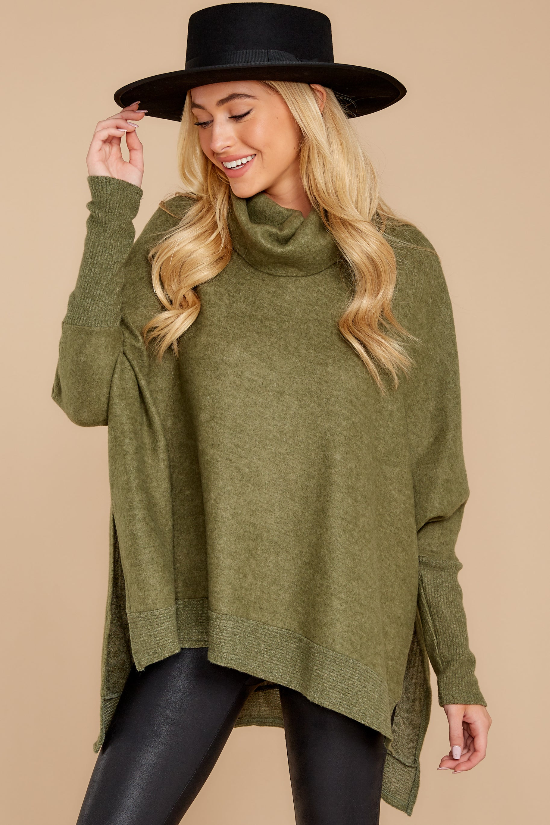 8 Last To Love Heather Green Cowl Neck Sweater at reddressboutique.com
