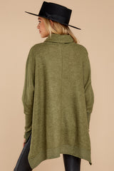 9 Last To Love Heather Green Cowl Neck Sweater at reddressboutique.com