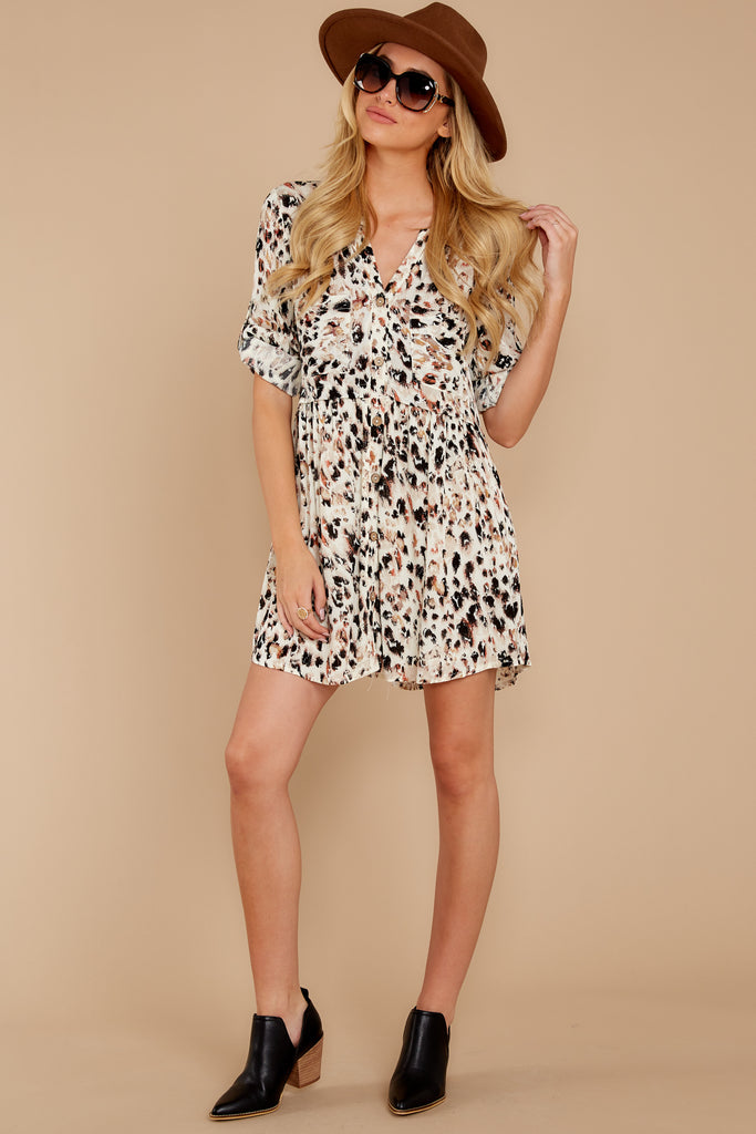 She's Spot On Ivory Cheetah Print Romper