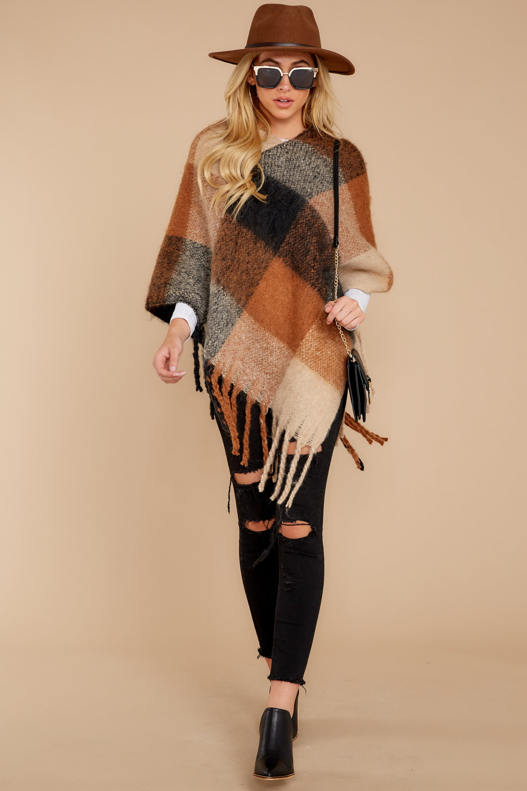 2 In The Wind Black Multi Poncho at reddress.com