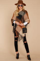 3 In The Wind Black Multi Poncho at reddress.com