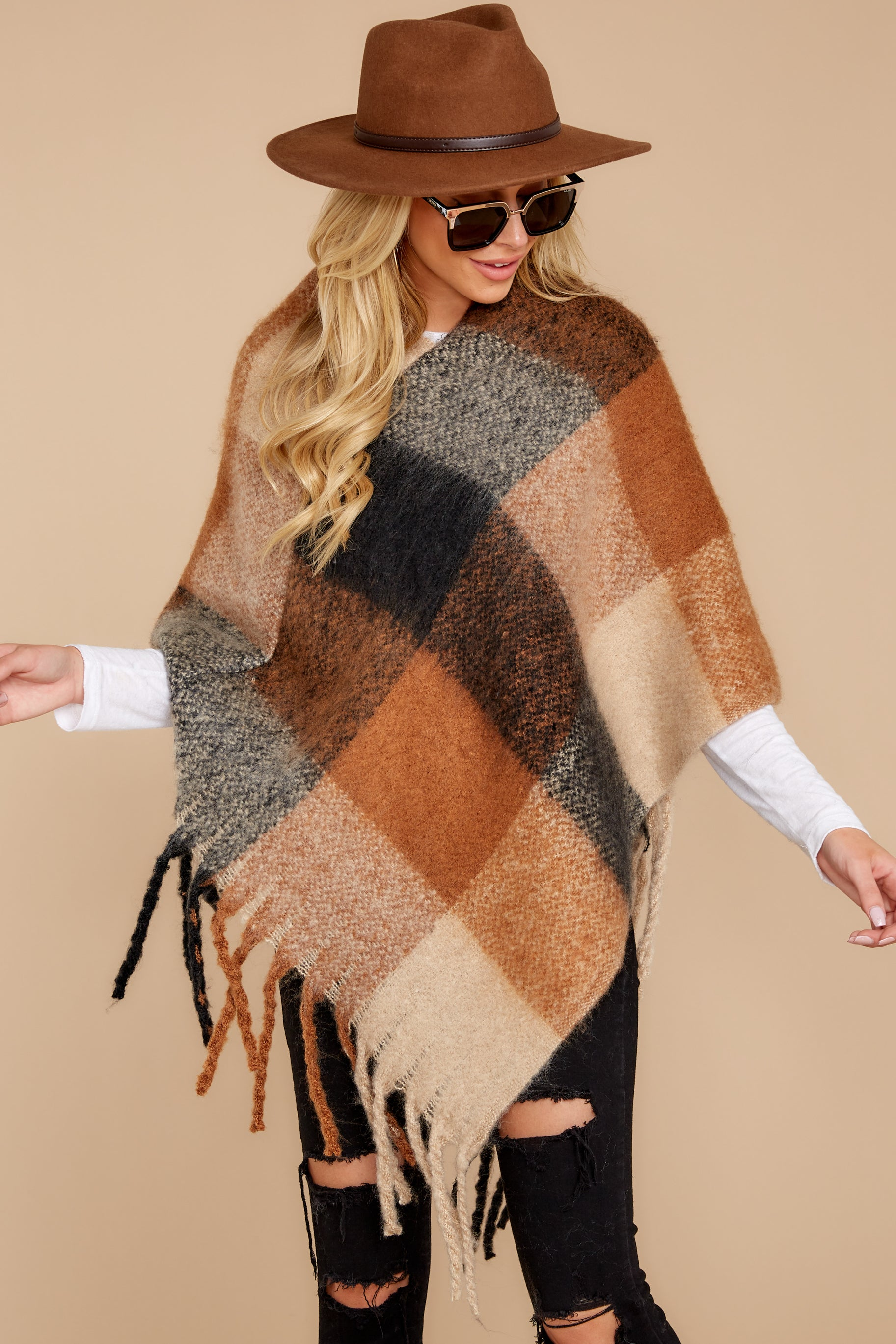 4 In The Wind Black Multi Poncho at reddress.com