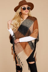 7 In The Wind Black Multi Poncho at reddress.com