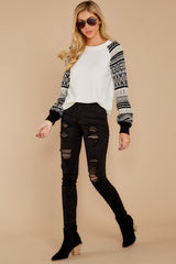 2 Never Settle Black And White Sweater at reddressboutique.com
