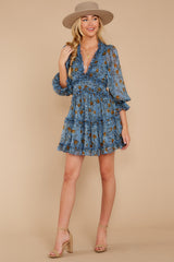 2 Make It A Date Night Light Blue Floral Print Dress at reddress.com